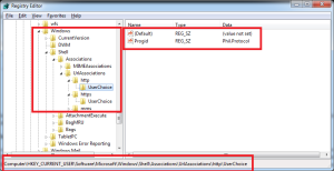 Screenshot of registry configuration for default browser